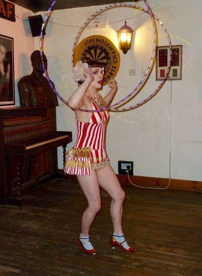 Burlesque Dancer English Pub Hula Hoops