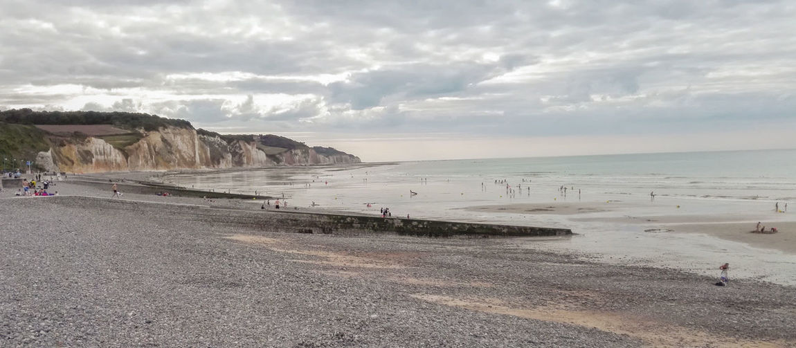 Pourville Sur Mer Hautot Sur Mer Summer Vacations Sea Beach Sand Water Horizon Over Water Outdoors Cloud - Sky Nature Scenics Beauty In Nature Sky Cloud Landscape Landscape_Collection Normandy France Europe Ocean Cliff Travel Destinations Travel