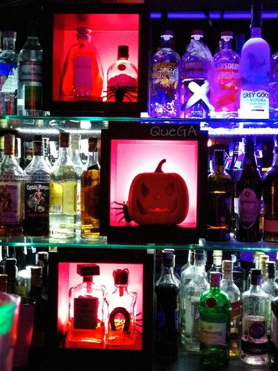 Halloween Night Multi Colored Drink Cocktail Bar - Drink Establishment Neon Halloween Decorations Lights And Silhouettes Moments Of Life Eyem Best Shot - My World From My Point Of View Mobilephotography Taking Photos