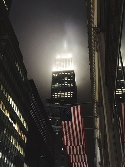 The Empire State Building Foggy NYC Empire State Building USAflag Flag Battle Of The Cities