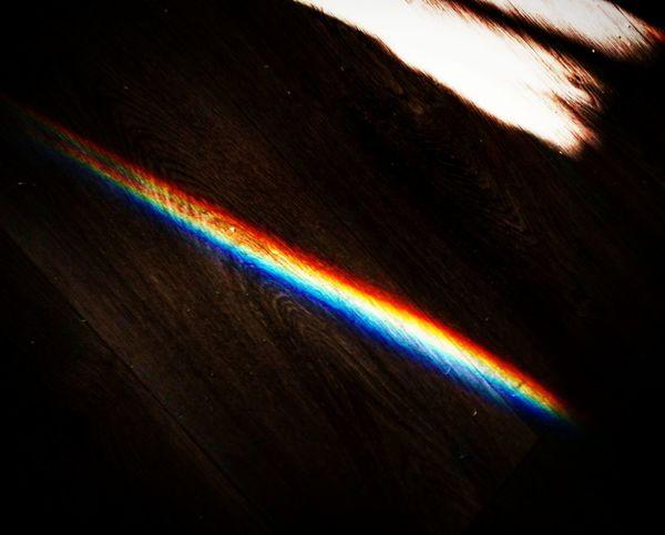 Spectrum Refraction Multi Colored Rainbow Light Beam Close-up