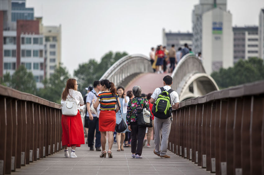 Architecture Bridge Built Structure Casual Clothing City City Life Day Focus On Foreground Leisure Activity Lifestyles Medium Group Of People Men Mixed Age Range On The Bridge Outdoors People Person Rear View Seonyudo Seonyugyo Sky The Way Forward Tourism Travel Destinations