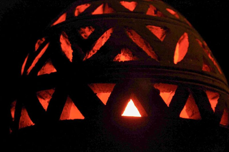 Close-up of illuminated orange pumpkin
