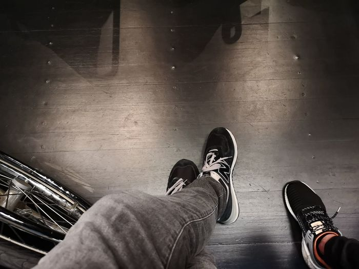 Low Section Selfie Standing Human Leg Men Shoe Personal Perspective Human Foot Close-up Foot Shoelace Leg Pair Footwear Menswear