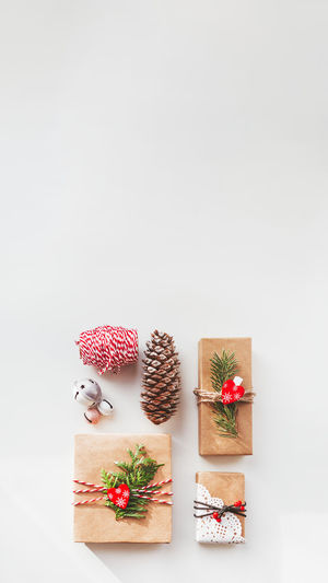 Christmas decoration in box against white background