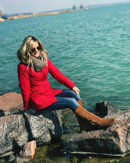 Water Balaton Hungary Blonde Blond Hair Happy Smile Nature Portrait Women Red