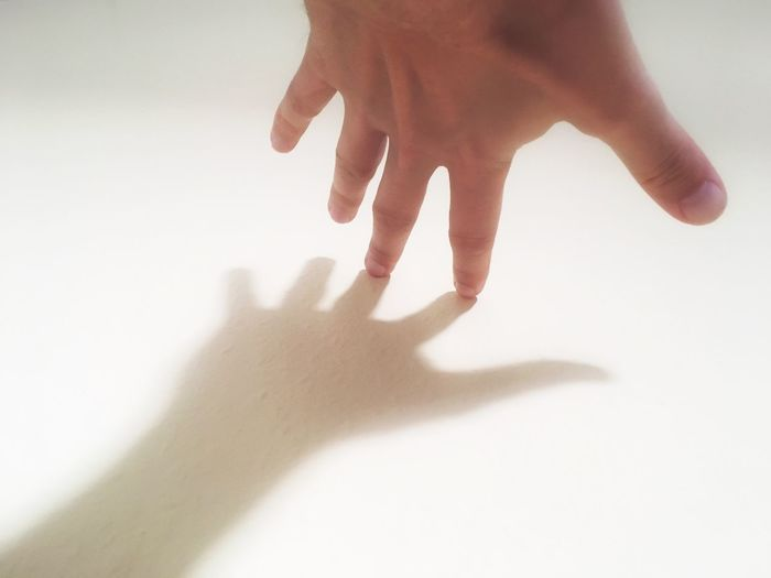 hand creating a shadow on white background Human Hand Human Finger White Background Human Body Part Shadow One Person Gesturing Real People Indoors  Close-up People Shadows Fingers Fingernail Nails Skin Skintone Background White Table Wall