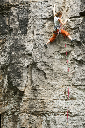 High angle view of ropes on rock