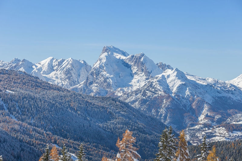 Awesome mount marmolada winter panorama in a sunny day, dolomites, italy