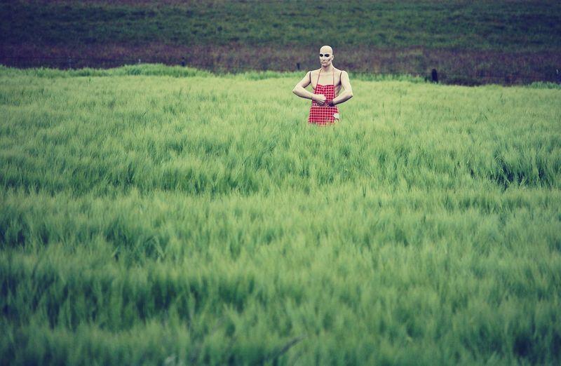 Mannequin Standing On Grassland