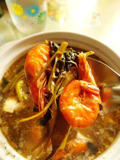 Shrimp in Tamarind Soup Filipino Dish Sinigang Na Hipon Sinigang Hipon Close Up Filipino Cuisine Vibrant Food Comfort Foods Close-up