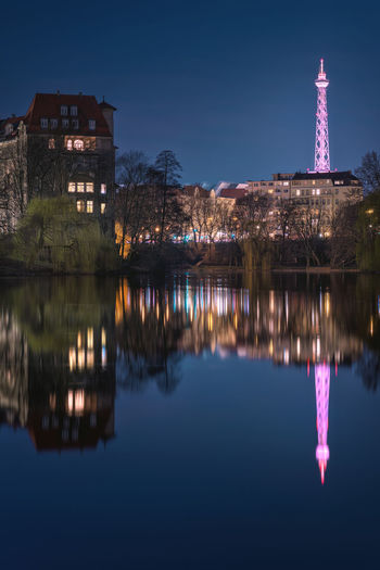 Architecture Berlin Building Exterior Built Structure Clear Sky Fun Himmel Illuminated Lietzensee Nature Night No People Outdoors Reflection S Sky Spiegel Tower Travel Destinations Wasser Water Wilmersdorf