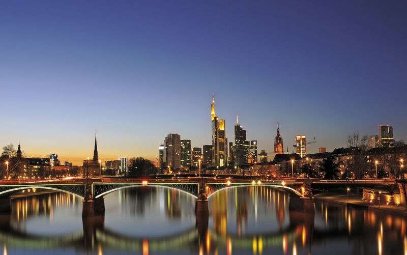 Main River and Frankfurt financial district panorama at twilight No People Skyscraper Cityscape Office Building Exterior Sky Built Structure Architecture City Metropolis Tall - High Tower Water River Skyline Reflection Light Illuminated Twilight Dusk Twilight Sky Bridge