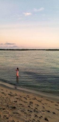 Water Sea Sunset Beach Full Length Red Summer Pets Sand Romantic Sky