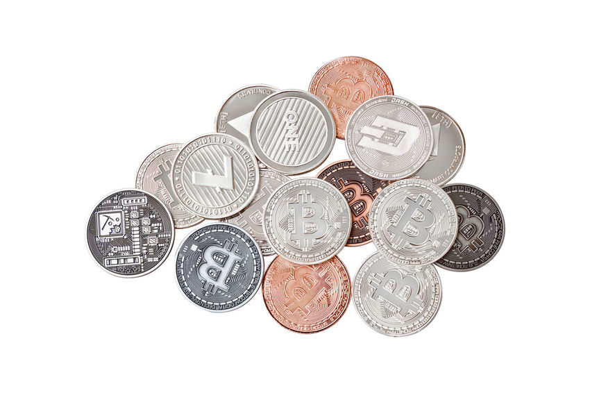 A mix group of physical cryptocurrency concepts, Bitcoin, Ethereal (ETH), Litecoin, Dash stack in bronze, silver, copper on white background, Isolated with clipping path, Top view Business Currency Eco Isolated Market Real Wallet Bitcoin Blockchain Clipping Path Copper  Crypto Cryptography Decentralized Eth Ethereum Financial Litecoin Monetary Money Object Payment Silver  Trade White Background