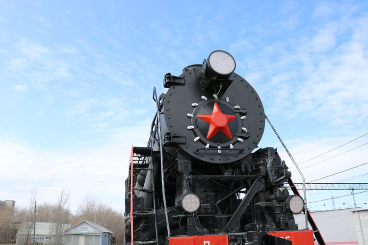 Architecture Built Structure Cloud - Sky Day Locomotive Low Angle View Nature No People Outdoors Railway Railway Station Redstar Retro Sky Steamlocomotive Train Transport