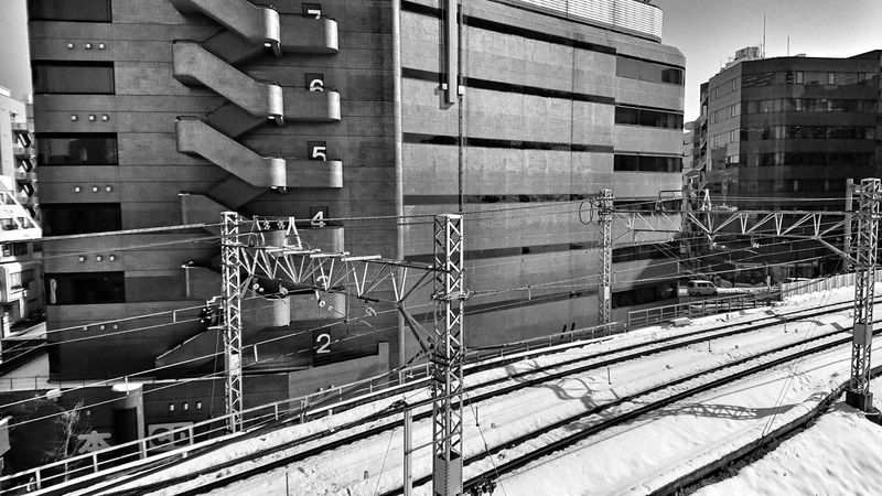 Numbers Floor Number Architecture Railway Track Lines Parallel Lines Cityscape Wintertime Black And White Monochrome After Snowing Day From Train Window Tokyo,Japan Architecture Building Exterior Built Structure Day