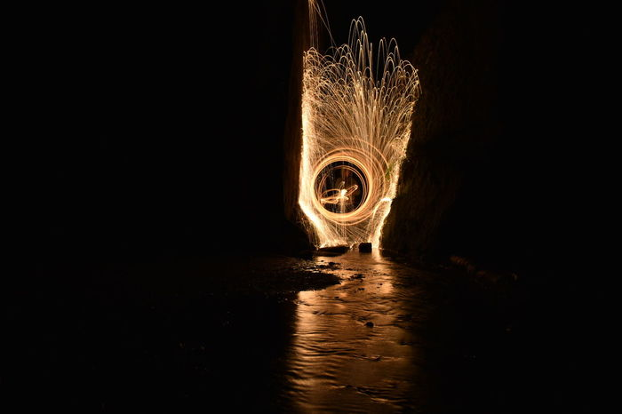 Long Exposure Light Painting Photography Steel Wool No People Night