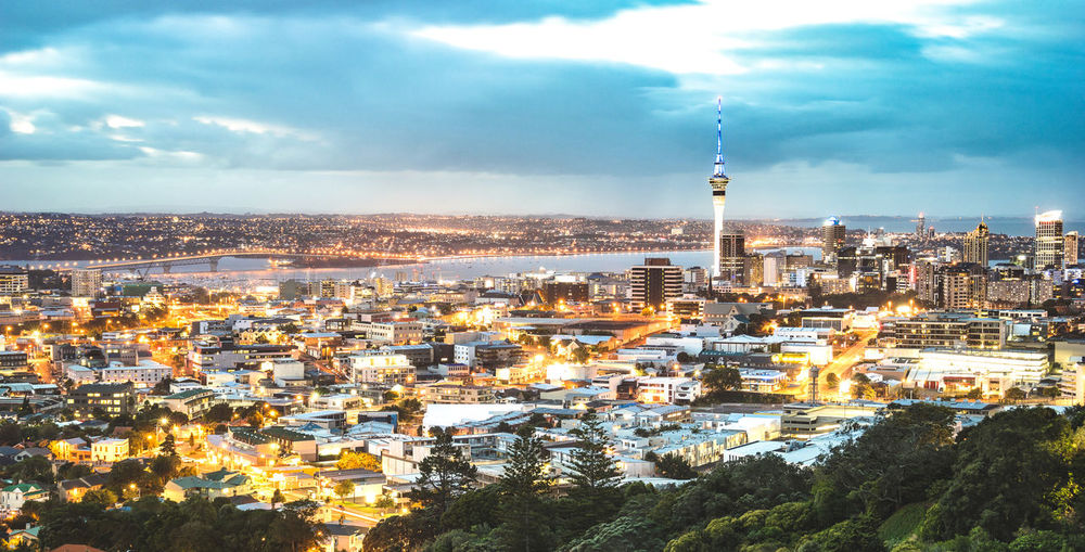 Aerial view of Auckland skyline from Mount Eden after sunset during blue hour - New Zealand modern city with majestic nightscape panorama - Enhanced filter on night lights City Cityscape Skyline Skyscrapers Urban Aerial View Panorama Panoramic Auckland Auckland City New Zealand New Zealand Scenery New Zealand Beauty New Zealand Landscape NZ Mount Eden Landscape Lookout Filtered Image Blue Hour Sunset Streets Lights Night