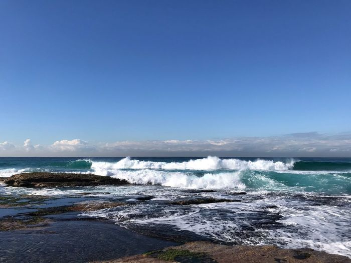 Nature Australia Screamingsunshine Sydney East Water Sky Sea Beauty In Nature Clear Sky Scenics - Nature Copy Space Beach Wave Nature Motion Blue Aquatic Sport Surfing Splashing Horizon Over Water