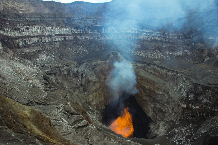Beauty In Nature Burning Day Erupting Geology Heat - Temperature Hot Spring Landscape Molten Mountain Nature No People Outdoors Physical Geography Power In Nature Scenics Smoke - Physical Structure Volcanic Crater Volcanic Landscape Volcano