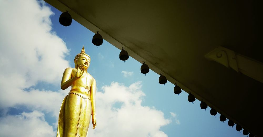 Architecture Religion Statue Gold Colored Sky Outdoors Low Angle View Temple Thai Architecture Thai Temple Built Structure Place Of Worship Gold No People City Day