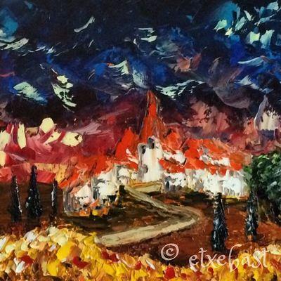 Les Blés du Village. Huile sur Acrylique sur toile. 90x30. Extrait. Oil. Acrylic base. Canvas. Sample. Painting