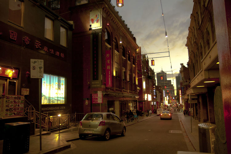 Architecture Built Structure City Car Illuminated Building Exterior Motor Vehicle Street Night Mode Of Transportation Transportation Land Vehicle Building Lighting Equipment No People Residential District Outdoors Road The Way Forward Place Location Chinatown, Melbourne