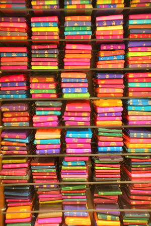 India Abundance Arrangement Backgrounds Choice Close-up Colorful Consumerism Full Frame Indoors  Large Group Of Objects Multi Colored No People Order Pattern Repetition Retail  Sari Shelf Shopping Stack Still Life Store Textile Variation
