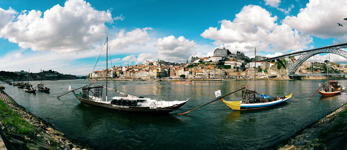 City Panorama Panoramic Porto Portugal Travel Anchored Architecture Boat Boats Built Structure City Cloud - Sky Moored Nautical Vessel Outdoors Panoramic Photography River Sailboat Sky Tourism Travel Travel Destinations Water Waterfront