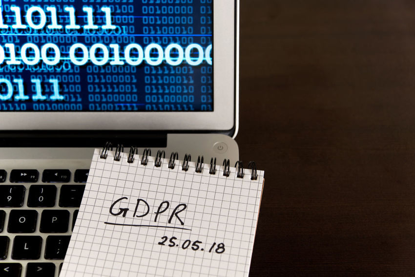 General Data Protection Regulation GDPR concept - new law in 2018 - checklist, notepad on keyboard, binary data on screen Business Desktop Security Binary Data Checklist Computer Data Data Protection Datenchutz Dsgvo Europe Gdpr Handwriting  High Angle View Information Internet Keyboard Laptop Law Legal Notepd Privacy Protection Regulator