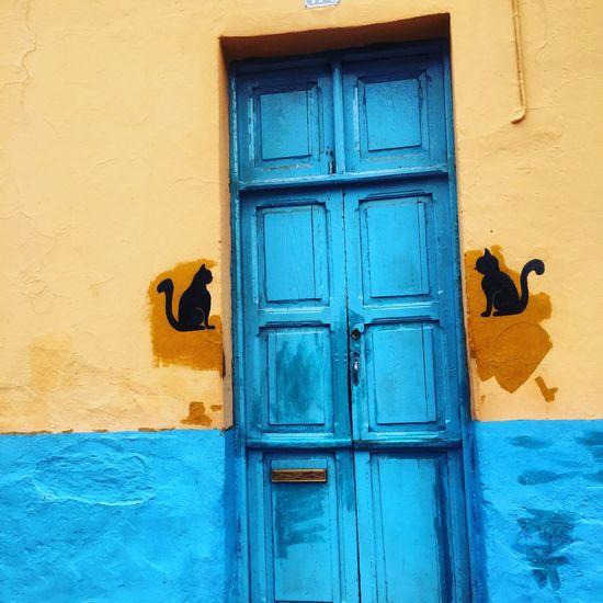 Blue door Gran Canary Island Building Exterior Door Built Structure Gran Canaria - Maspalomas Door Lock