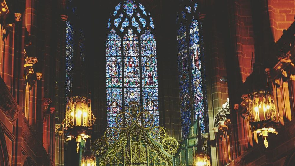 Travel Photography Church Cathedral Liverpool Old Vintage Lights Vitrage