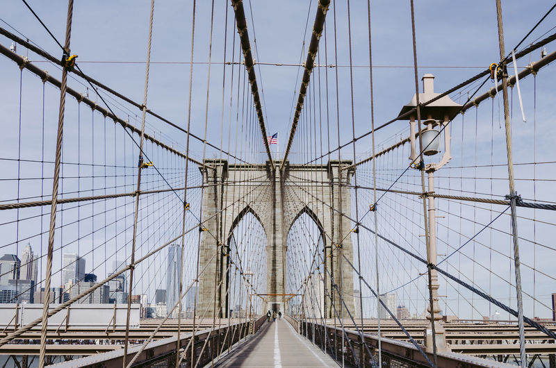 Built Structure Transportation Architecture Bridge Connection Suspension Bridge Bridge - Man Made Structure Engineering Sky Travel Destinations Tourism Travel Cable Direction Cable-stayed Bridge Nature The Way Forward Steel Cable City Long Brooklyn Brooklyn Bridge / New York Brooklyn Bridge