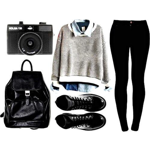 Camera Denimshirt Black Pants Pants Shoes ♥