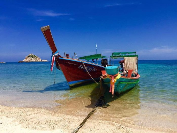 Thailand Long Boats Boat Colors Sea Sea And Sky Asian  Blue Sky Traveling Relaxing Goto Sky Life Is Beautiful Viva La Vida  Sun Blue No People Spotted In Thailand