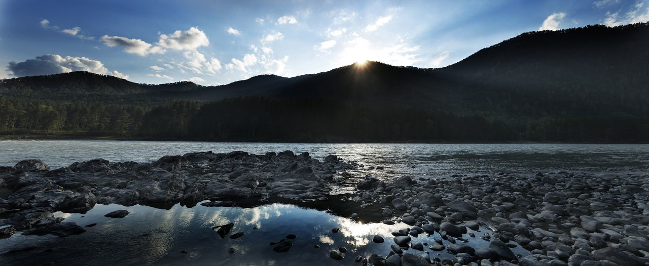 Nature Altai Blue Mountain River Sky Sunset
