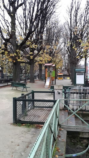 Rain in Town Rain Cityscape Playground Equipment No People Trees Wet Leaves