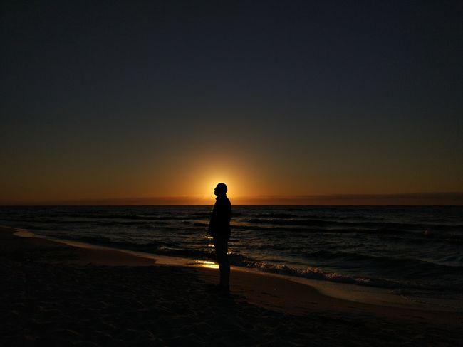 Beach Sea Sunset One Person Horizon Over Water Water Sand Standing Polish Seaside🌊