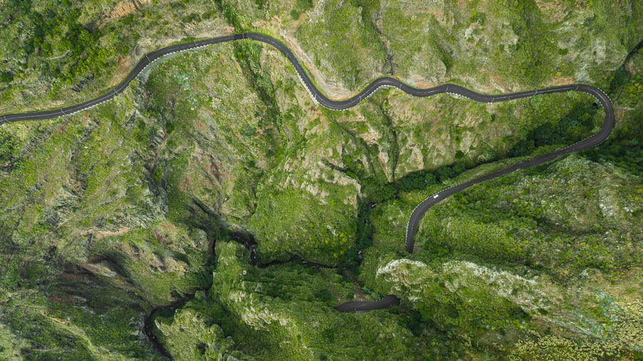 """Drone top view of bended road on mountain of """"Paul do Mar"""" DJI Mavic Pro DJI X Eyeem Drone  Directly Above Above Top View Top Perspective High Angle View Aerial View Road Outdoors Curve Madeira Island Travel Destinations Tourist Attraction  Beauty In Nature Rural Scene Non-urban Scene Driving Mountain Road Trip Car Backgrounds Environment Nature"""