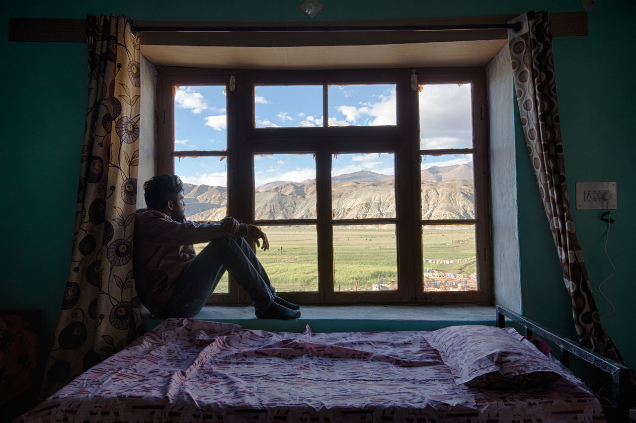 window, indoors, day, no people, sky