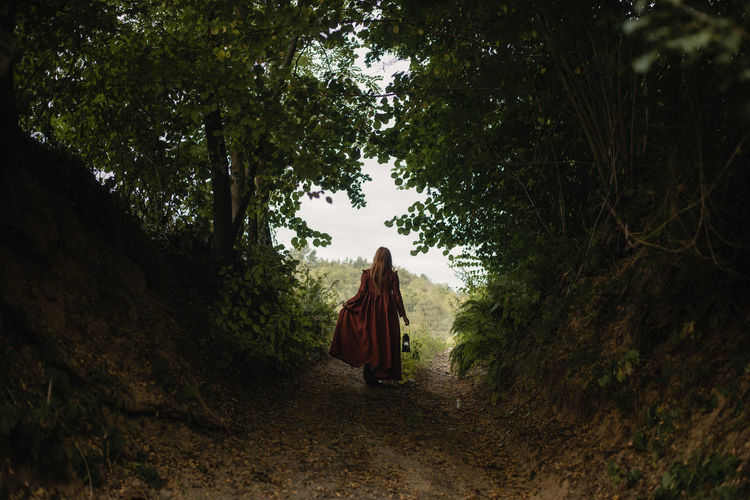 Rear view of woman walking amidst trees