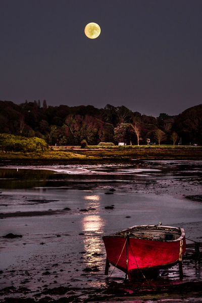 Bretagne Brittany Full Moon Le Conquet Reflets Dans L Eau Beauty In Nature Moon Moonlight Nature Nautical Vessel Night No People Outdoors Red Reflections In The Water Sky Water The Premium Collection
