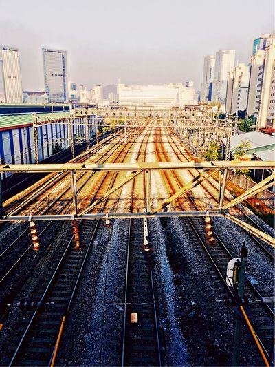 Railroad Track Rail Transportation City No People Outdoors Cityscape Seoul Seoul Metro Day IPhoneography Nice Shot Nice View Subway Station 4:00 Pm Travel Sunset But Warm Temperatures