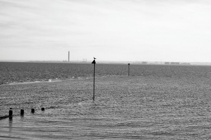 View Across The Thames Chimney Stacks Day Essex Coast Isle Of Grain Monochrome Photography Outdoors River Thames Riverside Shore Sky Southend On Sea Thames Delta Thames River Water Waterfront Lost In The Landscape Black And White Friday