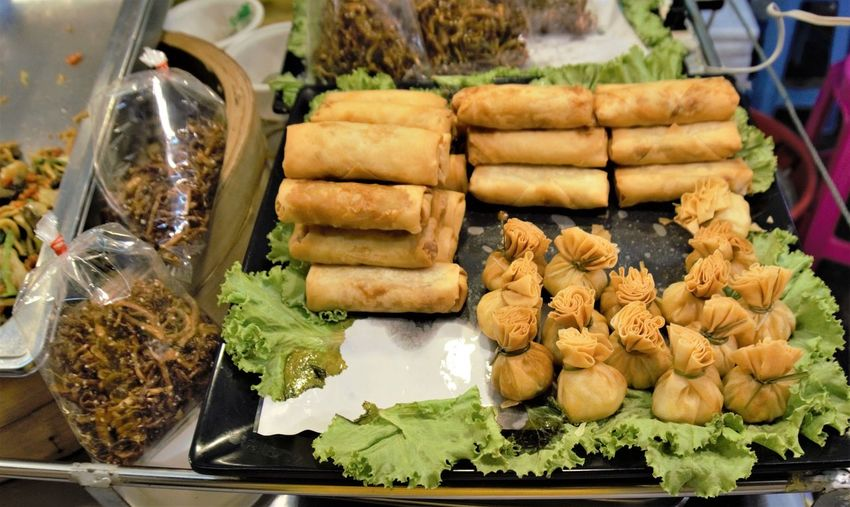 Chainatown Bangkok Thailand Bangkok Thailand. StreetFoods City Snack Stuffed Close-up Food And Drink Dim Sum Chinese Takeout Chinese Food Spring Roll Asian Food