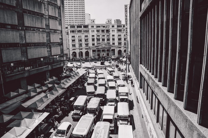 Architecture B&w B&w Street Photography A Bird's Eye View The Architect - 2016 EyeEm Awards Blackandwhite Envision The Future Built Structure Capital Cities  City City Life Cityscape Manila Narrow Perspective Street Street Photography Streetphotography Tall Tall - High The Way Forward Tower Traffic Traffic Jam Dramatic Angles