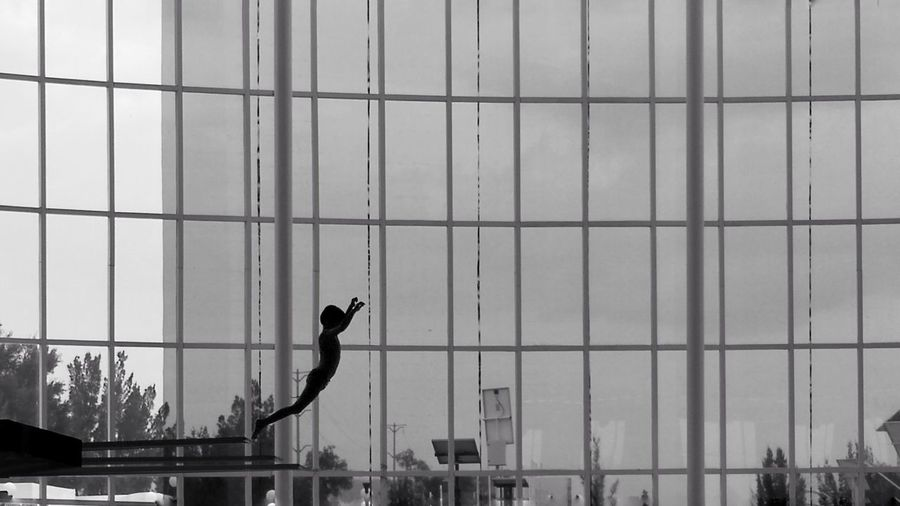 Bird Jumping Jump Boys Kids Swimming Pool Huawei P20 Pro Huawei P20 Pro Photography Huaweileica Blancoynegro Monochrome monochrome photography Mexico Clavado León México Deporte Sport Prison Justice - Concept Window Washer Trapped Architecture