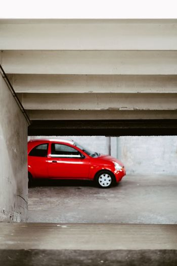 Degraded Car Garage Red Mode Of Transportation Car Transportation Motor Vehicle Land Vehicle No People Indoors  Architecture Retro Styled Stationary Garage City
