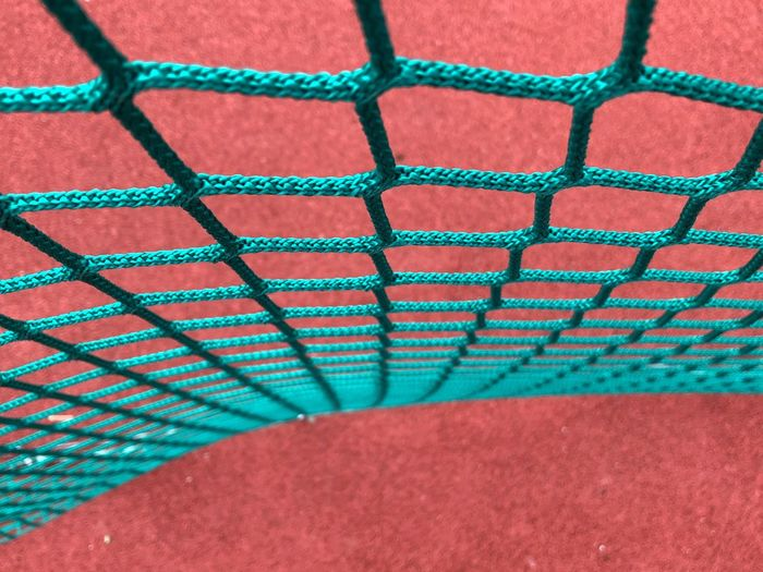 Football Soccer Net Pattern Close-up No People Multi Colored Red Full Frame High Angle View